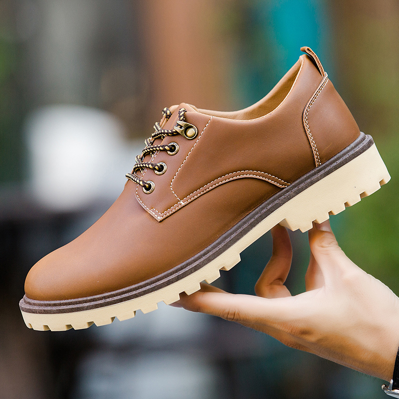 2018 New Design Factory Stock OEM Spring Autumn PU Leather Lace-up Low Cut Men Casual Flat Leather Shoes