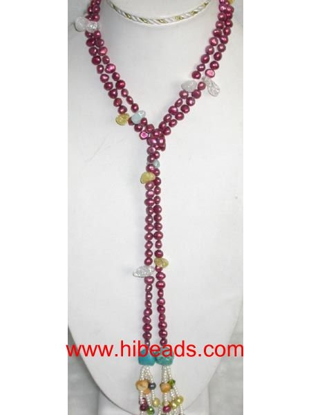 wine red nugget pearl necklace FPN0194