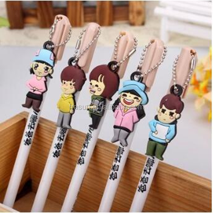 Custom plastic gelpen with a key chain China TV characters for kids