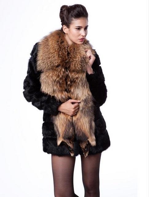 e4b83964953 Get Quotations · Casaco Feminino 2015 Luxury Women Plus Size Fur Coat Large  Mink Fur Collar Slimming Long Style