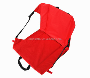Red and blue Foldable Floor Stadium seat cushions with back pocket