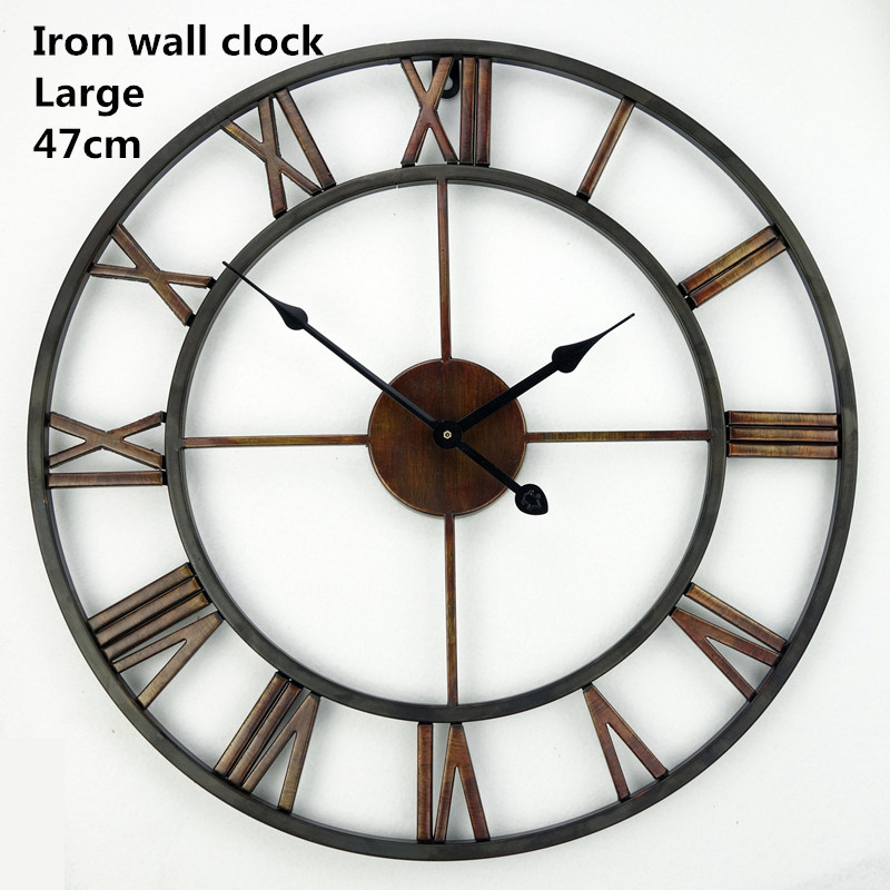 handmade oversized 3d retro roman wrought iron vintage large decorative wall clock big on wall. Black Bedroom Furniture Sets. Home Design Ideas