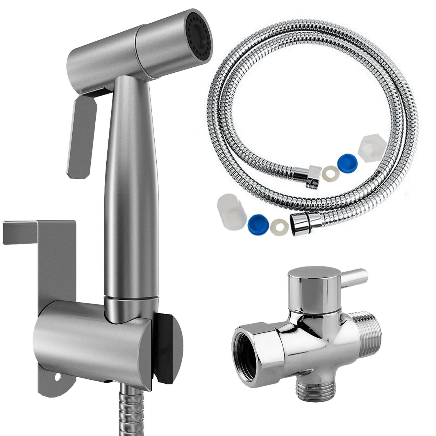 Cloth Diaper Sprayer, Yogaily Stainless Steel Bidet Sprayer Kit Hand Held Toilet Diaper Washer Complete Set - Adjustable Pressure Control - Easy to Install & Use