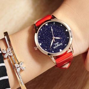 Factory price star sky leather watch lady Casual vintage wrist watch for wholesale LLW039