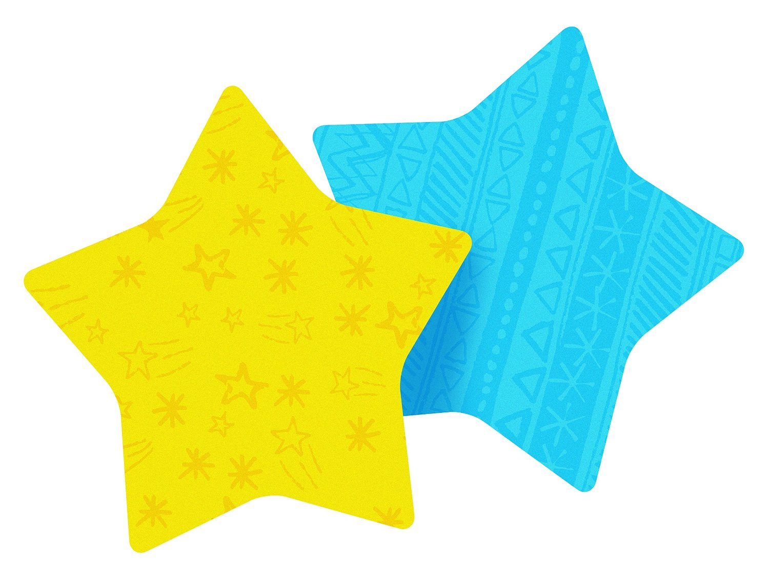Post-it Notes, Super Sticky Pad, 2.9 x 2.8 Inch, Star Shape, Yellow and Pink with pattern, 2 Pads/Pack, 75 Sheets/Pad (7350-STR)