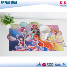 supply die cut PP lenticular placemats with cartoon design for kid and child