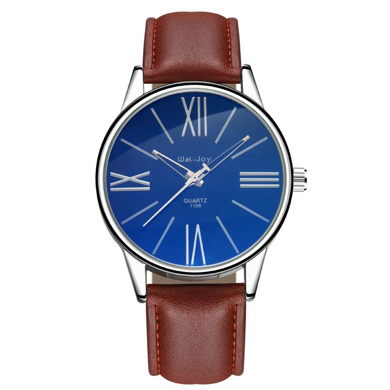 Купить со скидкой WJ-8111 Trendy Quartz Movement High Quality Men Leather Watch Wal-Joy Brand Fancy Blue And White Dia