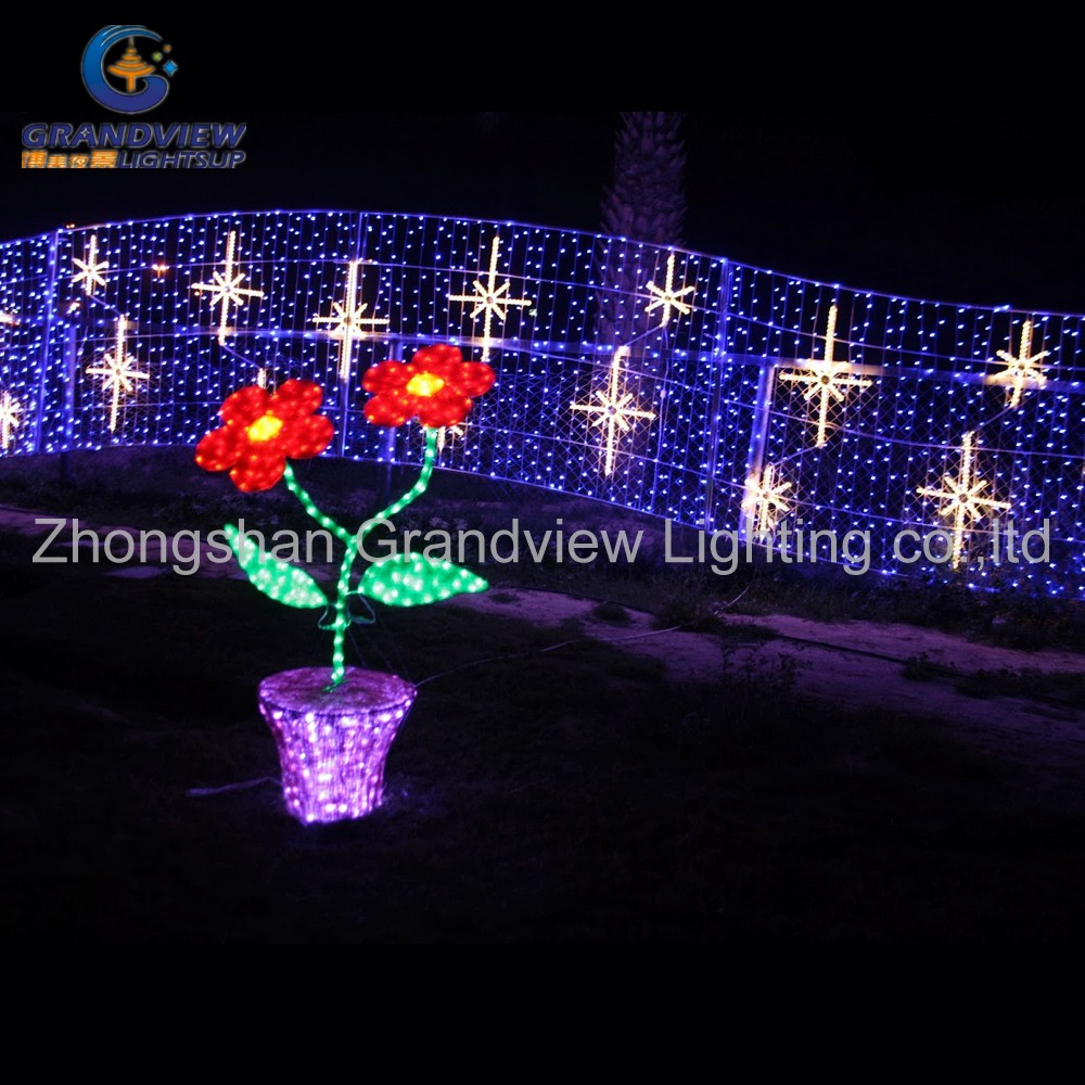 outdoor park acrylic flower with pot decoration LED light
