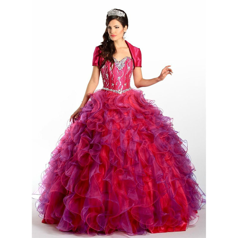 786e22e13b5 Get Quotations · MANSA 2015 Red Quinceanera Dresses 15 Year Ruffled Organza  Sweethetr Sparkling Beaded Pageant Party Ball Gown