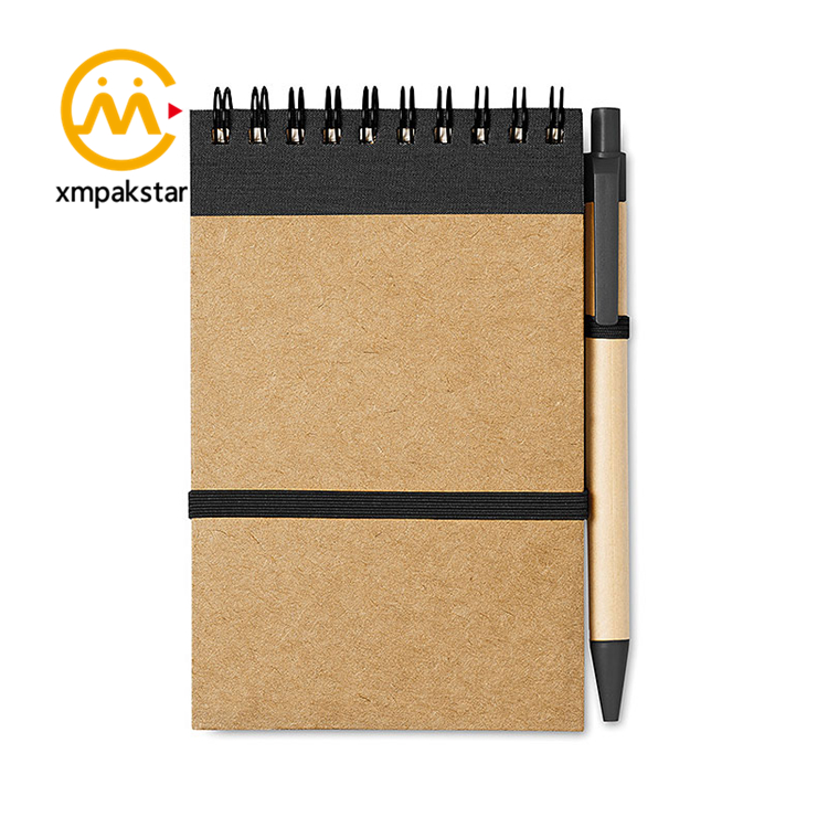 Customizable contrast color spiral elastic strap closure tear off school notepad with pen