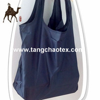 green shopping bags from recycled plastic material /RPET pongee fabric