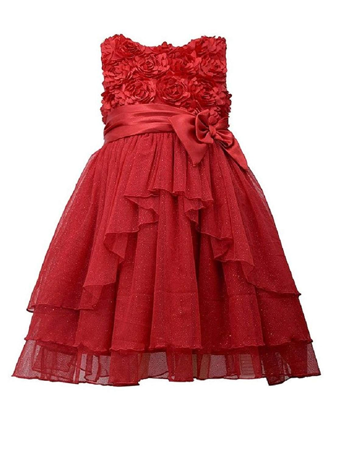12dbab883 Buy Bonnie Jean Girls Bonaz Sequins Mesh Holiday Dress, Red, 4 - 6X ...