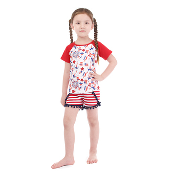 3fc4ed9e822 Wholesale Patriotic Clothing Unicorn and Stars Printed Baby Girl Clothes  Sets for 4th of July