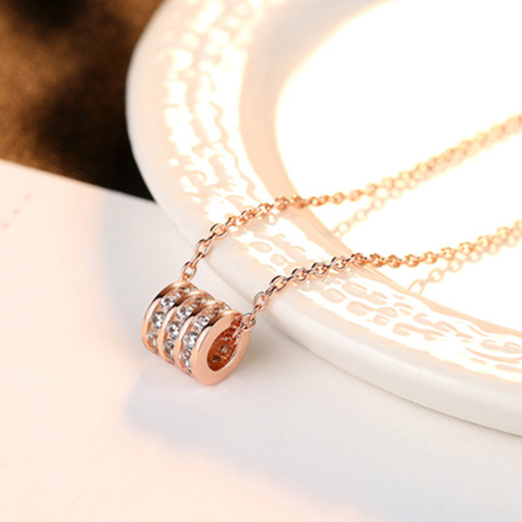 Rose Gold Crystal  Round Hoop Shape Pendant  925 Sterling Silver Necklaces