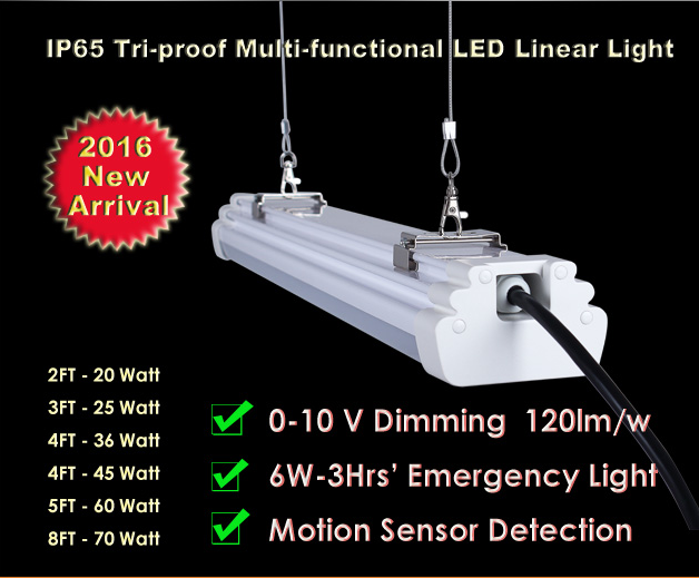 Indoor lighting surface mounted hanging 1200mm AC100-240V 120LM/W 36W LED linear light