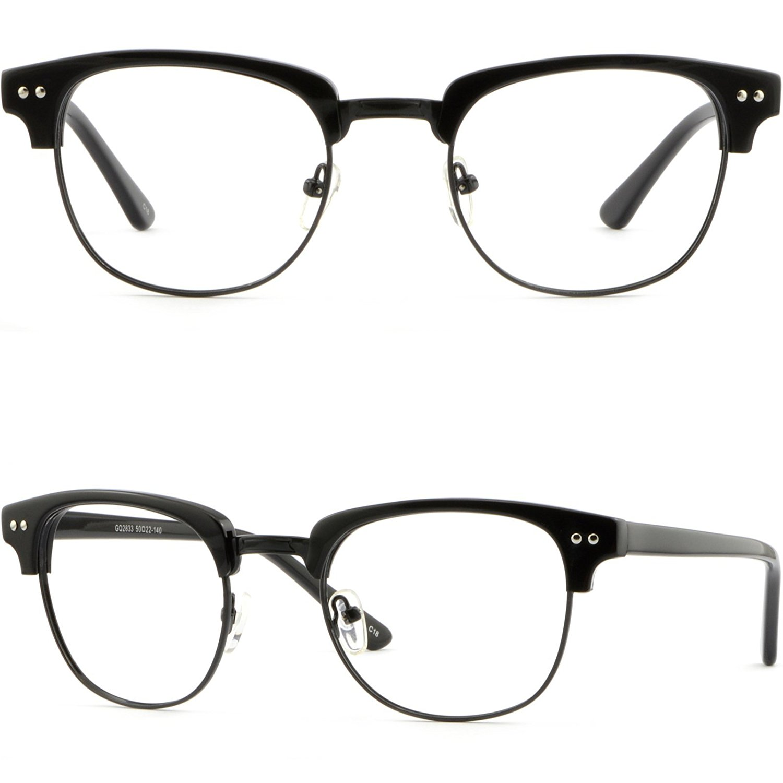 d846b1790f Get Quotations · Browline Plastic Mens Womens Frame Prescription Glasses  Shiny Pieces Black