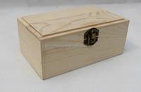 rectangular scotch pine wooden case box with lock hinged type