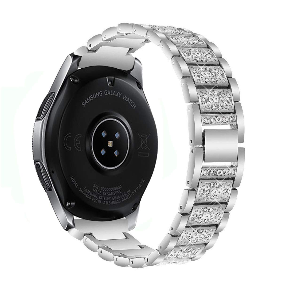 Kartice Compatible Samsung Galaxy Watch(46mm) Bands,22mm Galaxy Watch Band Alloy Crystal Rhinestone Diamon Replacement Bracelet Strap fit Samsung Galaxy Watch SM-800 Smart Watch(46mm).-Silver