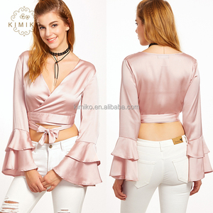 Supplier High Quality Satin Fabric Tiered Bell Sleeve Tie Front Crop Top