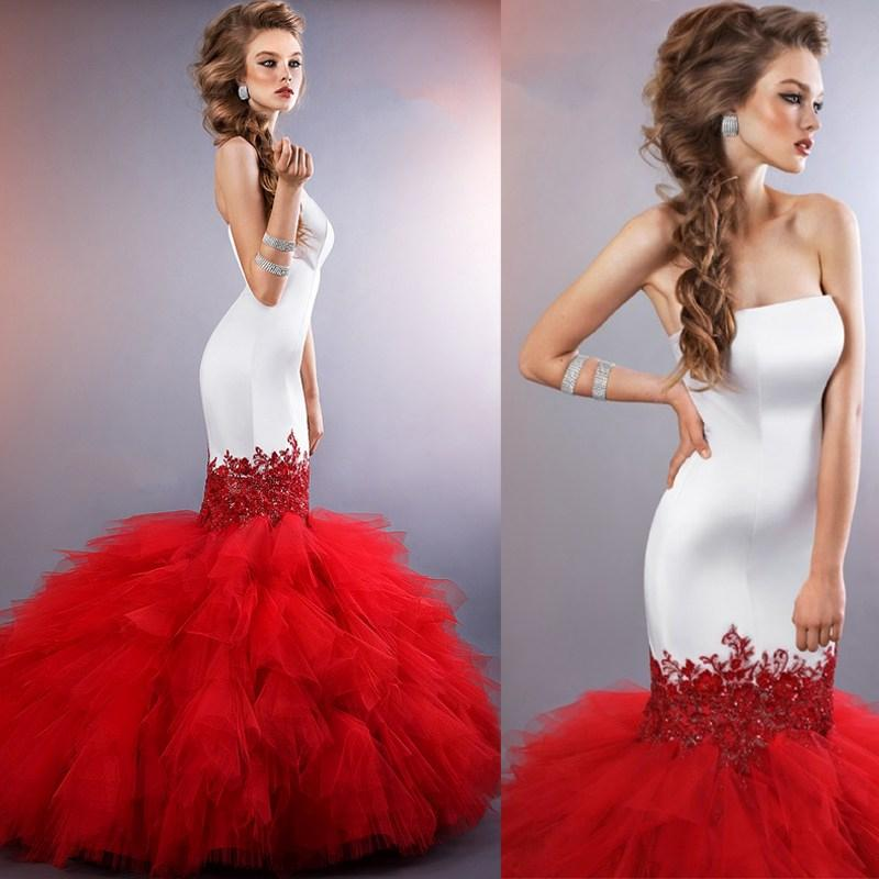 Hot Sale Red Mermaid Wedding Dresses 2015 Strapless Long