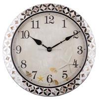 2017 metal+handmade shell glass mirror mosaic quartz clock