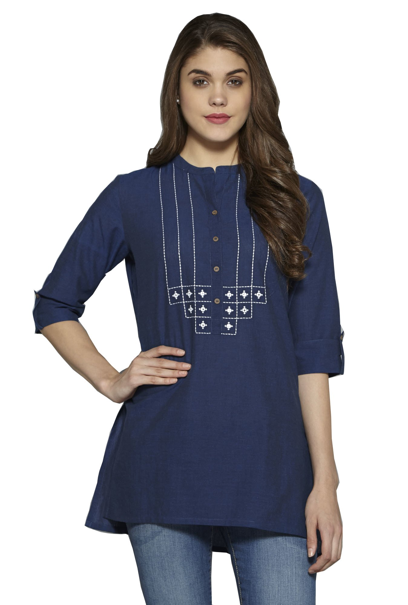 Aahwan Indian Kurtis for Women Solid Cotton Short Straight Embroidered Half Sleeve Hip Long Tunic