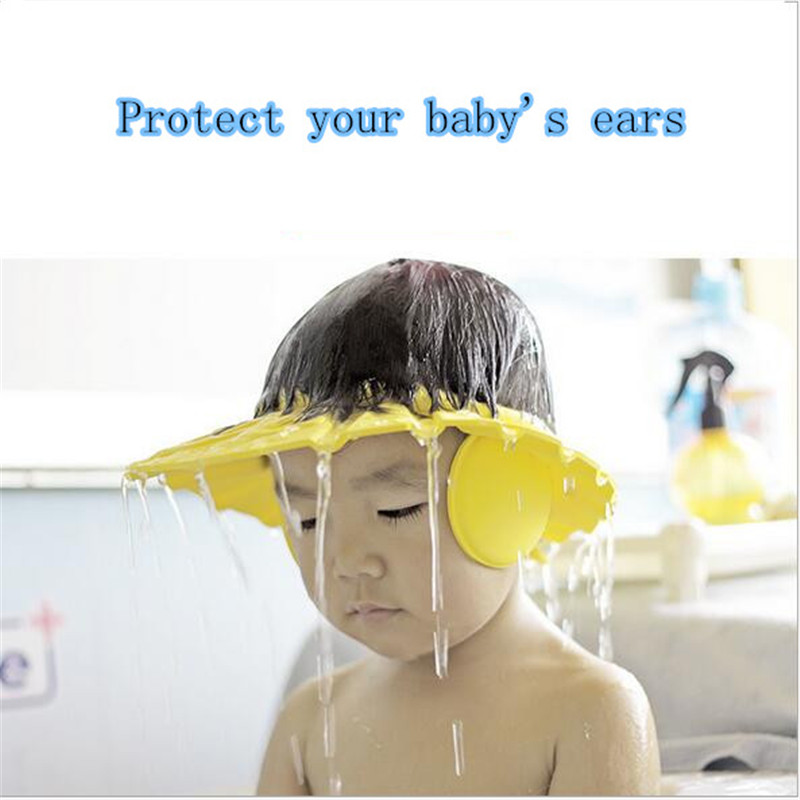 1 Pcs Shower Cap Adjustable Baby Kids Shampoo Shower Bathing Bath Protect Ear Wash Hair Cap Hat Baby Care C1