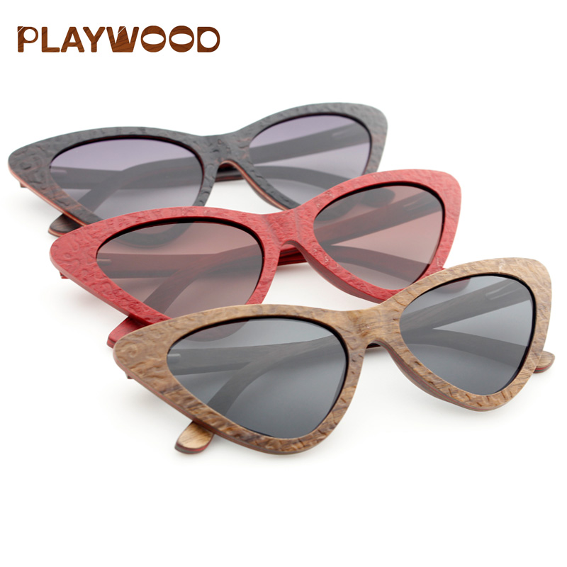 2019 Eco Friendly CE Approved Bamboo Wooden Sunglasses Polarized UV400 Cat Eye Sunglasses