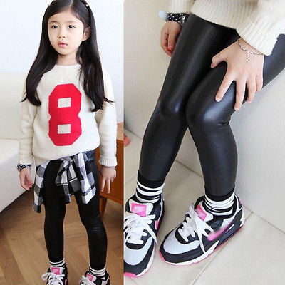 Baby Girls Kids Stretchy Faux Leather Skinny Pants Leggings Trousers Age 1 8Y
