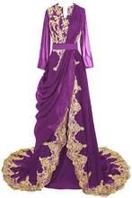 JaneVini арабское платье с длинными рукавами, женское платье для выпускного вечера с золотым кружевом, Элегантные Длинные Бордовые Платья для п...(Китай)