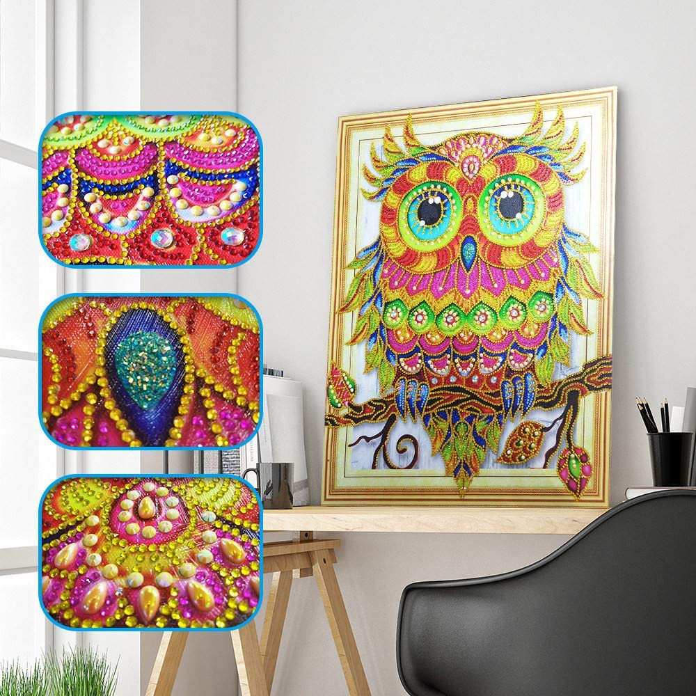 Rumas 5D Owl Sequin Diamond Paintings Non-Fade - 40 X 50 cm Embroidery Paintings Kits for Adults Kids Beginner - Art Craft Canvas Rhinestone Paste Cross Stitch Home Wall Decor (Mulitcolor)
