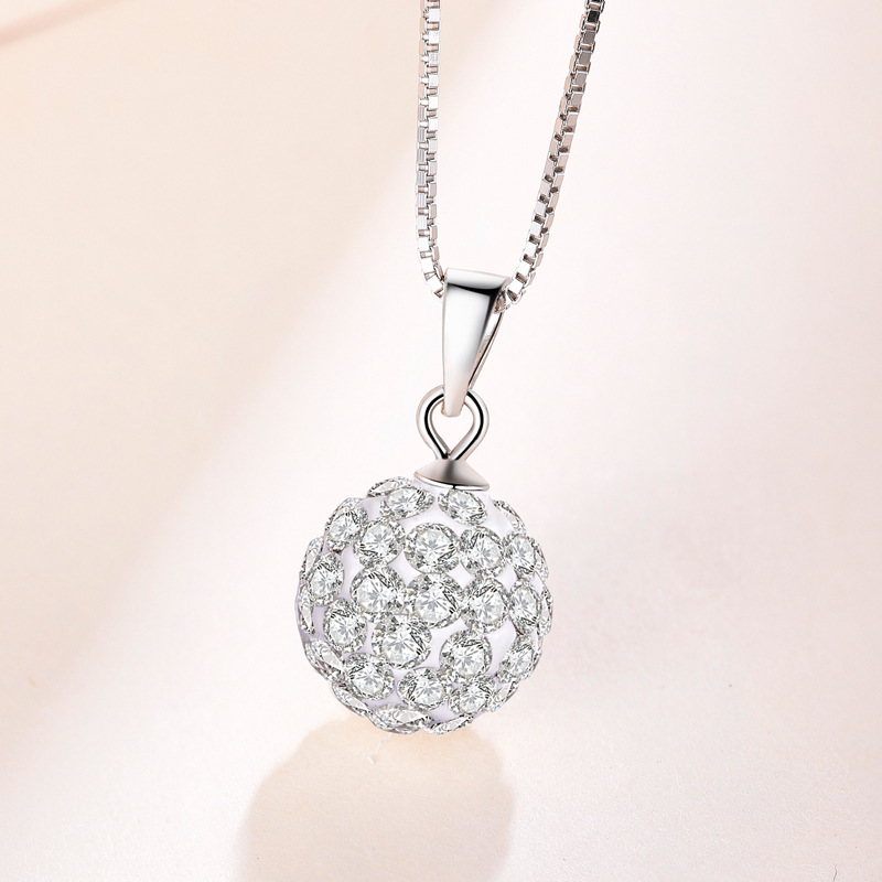 "2 Colors 10"" 925 Sterling Silver Ball Pendant Rhinestone Round Charm Pendant"