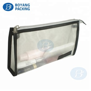 Portable vinyl clear cosmetic pouch make up bag transparent pvc with logo