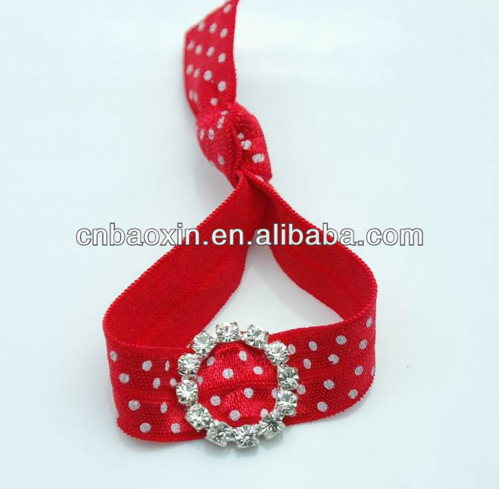 Popular FOE bracelet hair tie with rhinestone buckle
