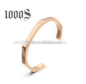 Costume Stainless Steel Men Cuff Bangle Bracelet With Gold Plating