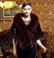 wholesale New Design Low Price fur coat cape natural mink fur shawl white Black red blue