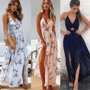 2019 New Women BOHO Floral Print Beach Dress Sleeveless Maxi Dress Party Dress Coldker