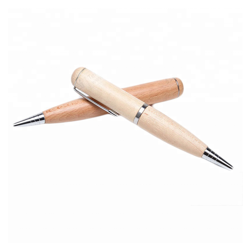 Custom exquisite corporate gift wooden USB pen with bamboo stylus top in 8GB flash drive