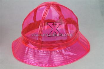 Kids Adult Folding Rain Bucket Hat Black Waterproof Plastic Pvc Rain ... c3c0c145753