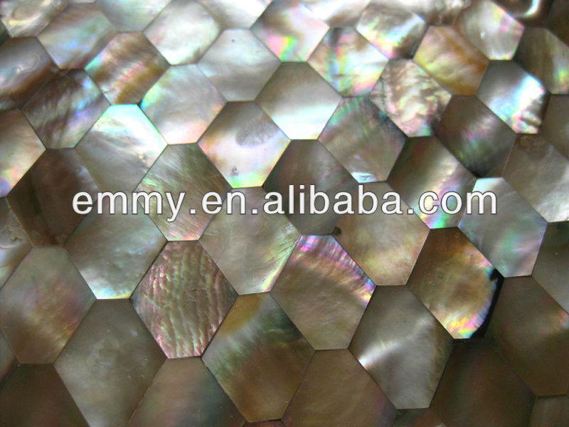 Brown lip mother of pearl seashell mosaic tile hexagon