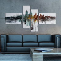 Unique city building 4 pieces house oil painting on canvas