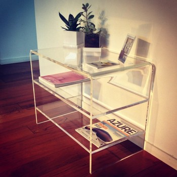 Modern Design Clear Acrylic Tv Stand With 2 Shelves Perspex End Table