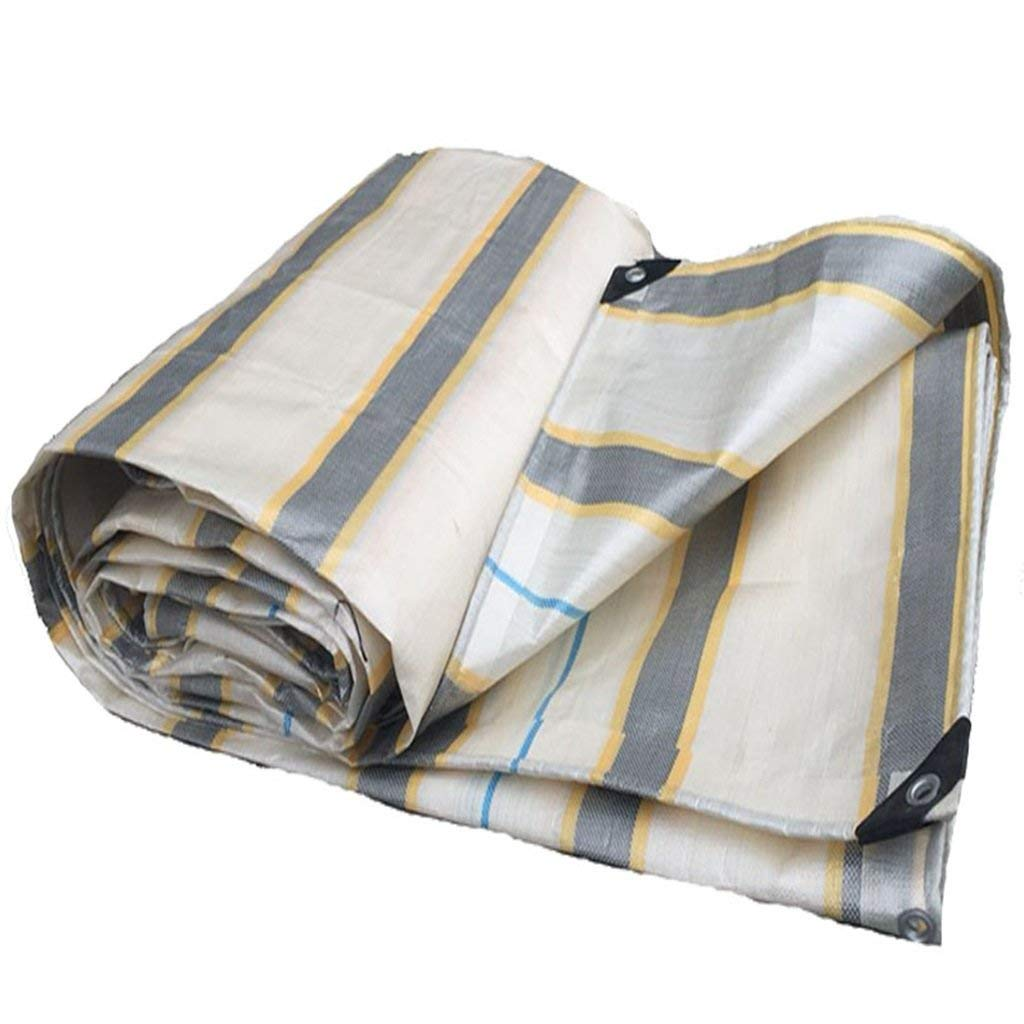 COZY HOME AAA Striped tarpaulin, waterproof, dustproof, wearable, easy to fold, store, outdoor use, garden pool, camping placemat, hammock, tarpaulin size: 3m3m