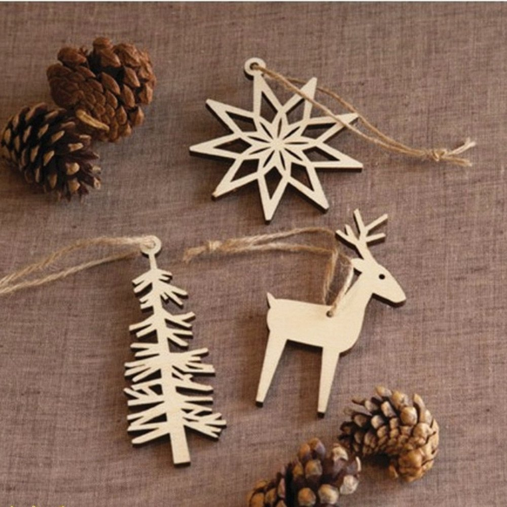 Hanging Christmas Decorations Diy.Buy Meste Wooden Tree Snowflake Elk Hanging Christmas