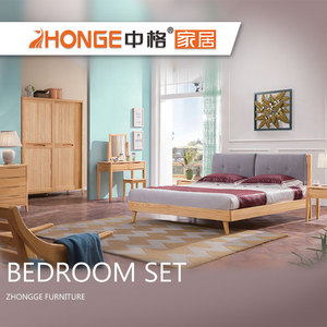 Sale Latest Designs Soft Back Teak Solid Wood Double Bed