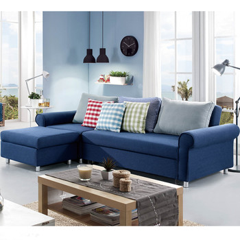 Eckschlafsofa  Elegante L- Förmige Eckschlafsofa Blaue Farbe Sofa Cum Bett ...