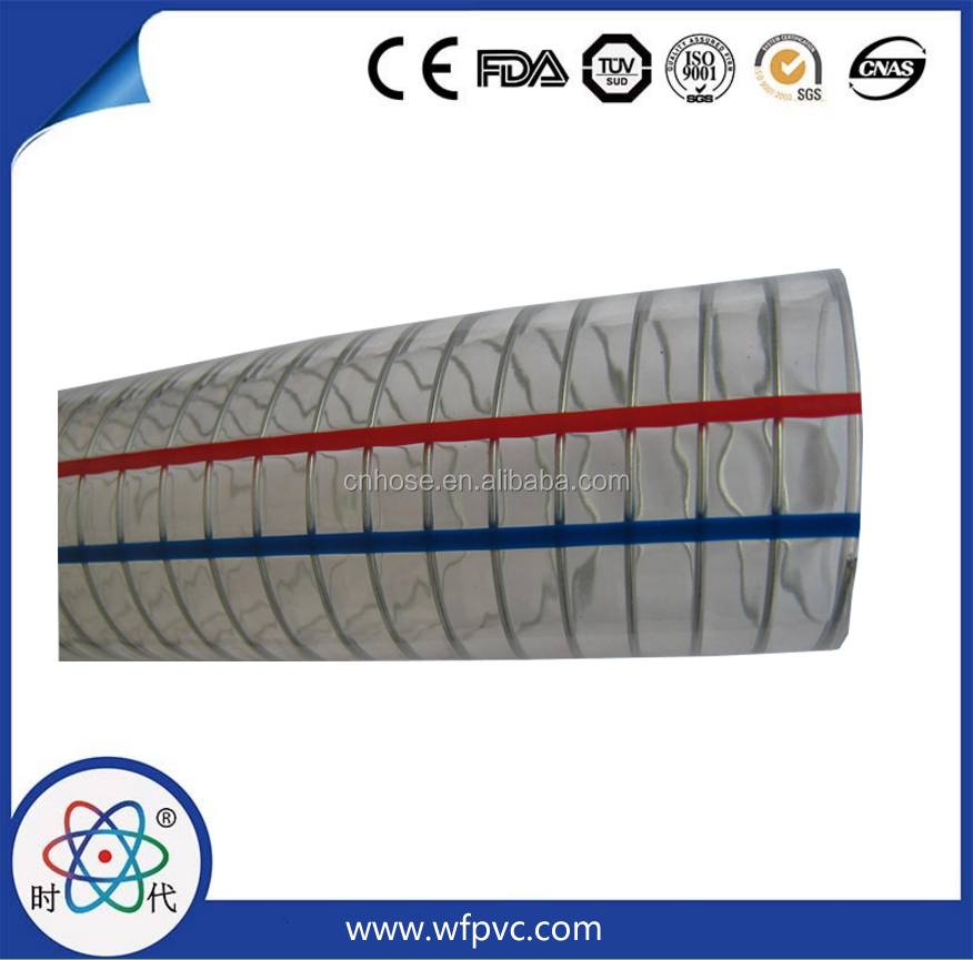 High quality shidai PVC sprial steel wire reinforced hose tube manufacturer on sale