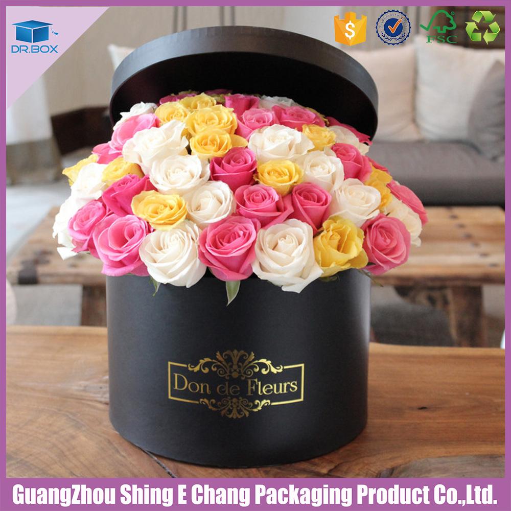 black round flower box with luxury cardboard gift box