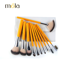 Pro Makeup Cosmetic makeup brush factory 11pcc, private lable makeup brush kit with white PU bag