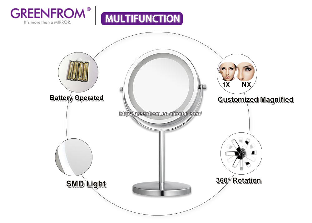 Greenfrom Round Lighted Cosmetic Metal Makeup Led Vanity